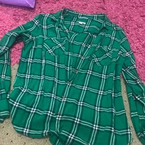 Green plaid button up